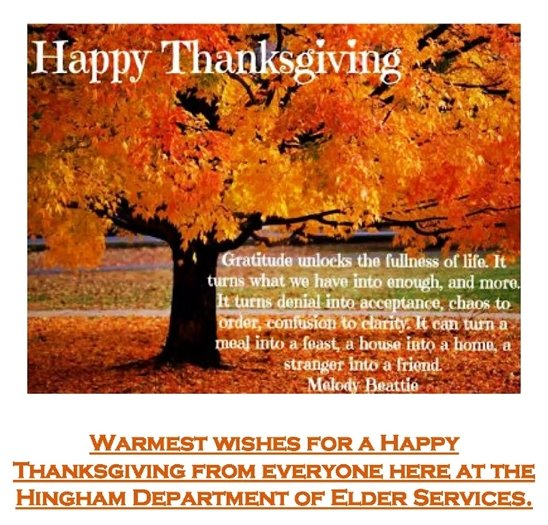 Happy Thanksgiving from the Department of Elder Services