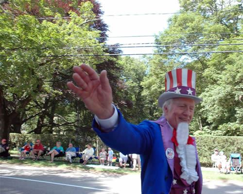 Uncle Sam in the Hingham July 4th Parade - Photo courtesy of Laura Sinclair