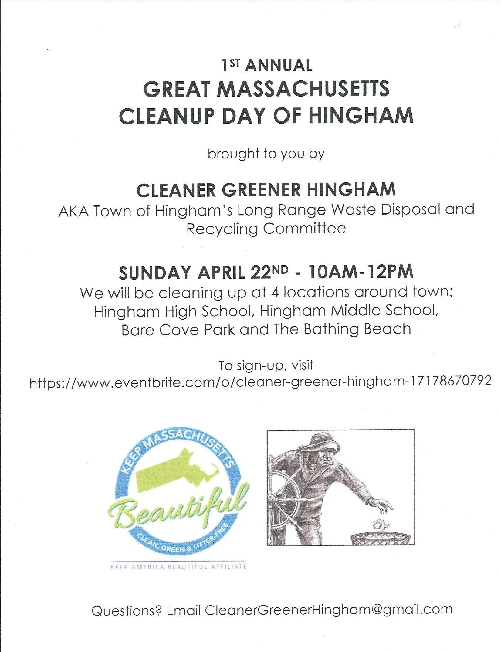 Cleaner Greener Hingham Cleanup Day Poster 2018
