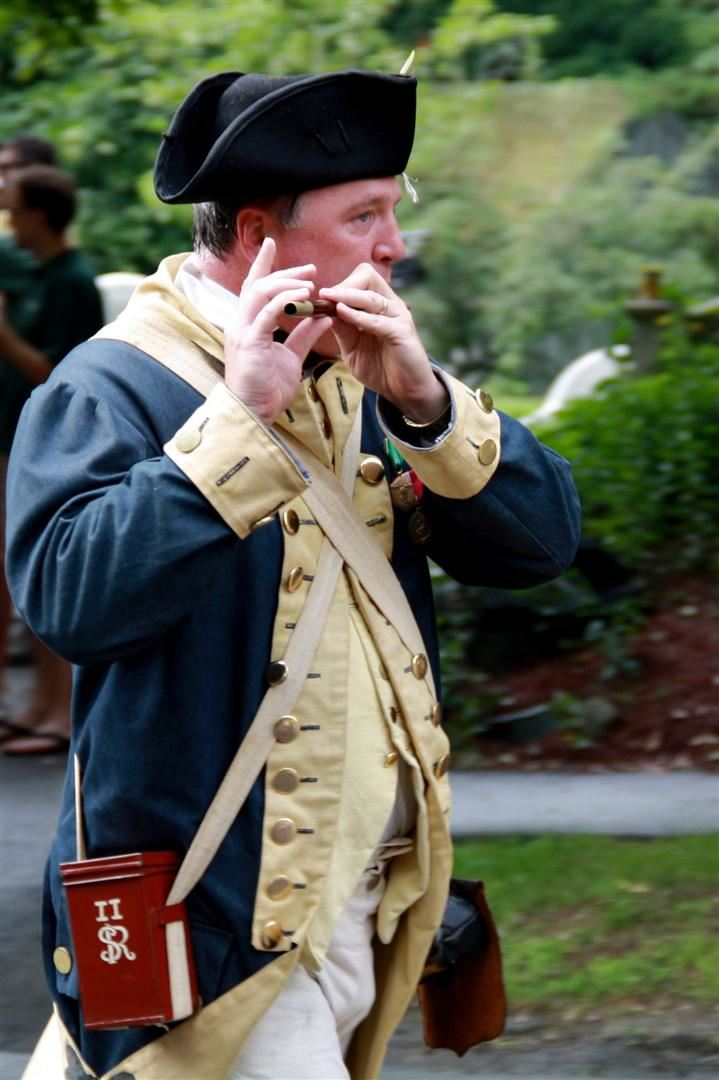 Revolutionary War Reenactor Playing Fiddle