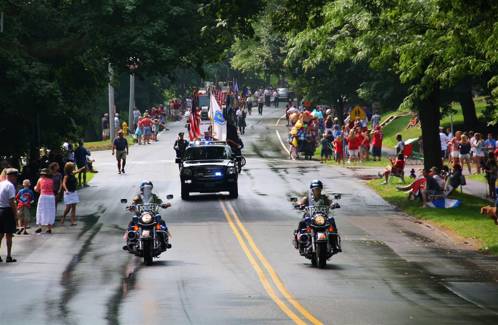 Hingham Police lead the parade down Main Street