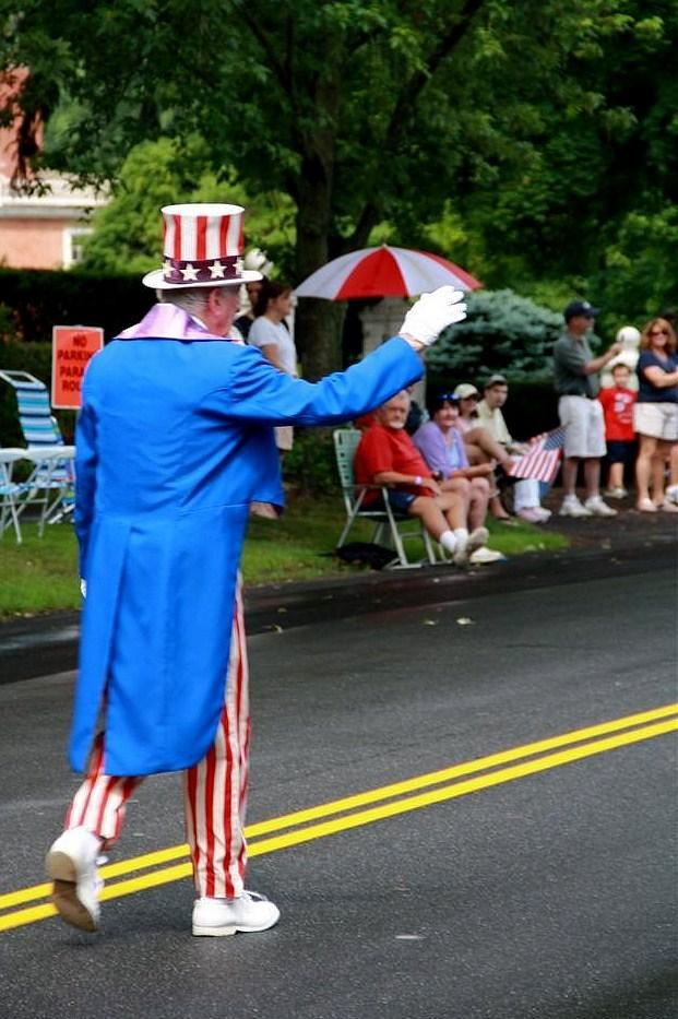 Uncle Sam waves to the crowd