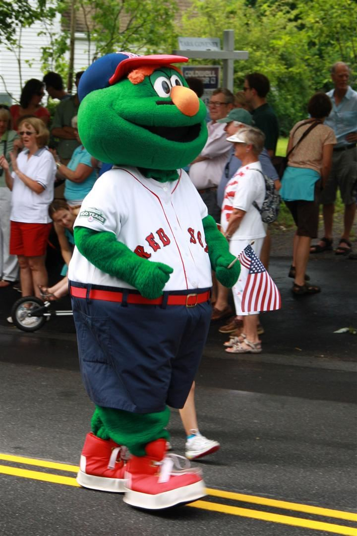 Wally, the Red Sox Mascot marches in the parade